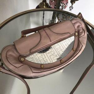 Authentic fendi mirror clutch crossbody bag purse